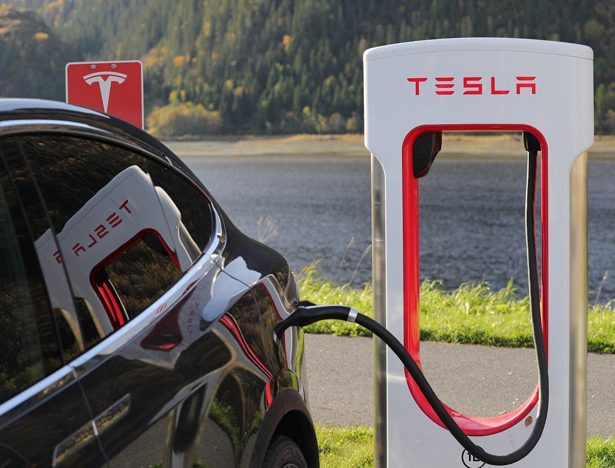 Tesla Model S charging at Supercharger network station
