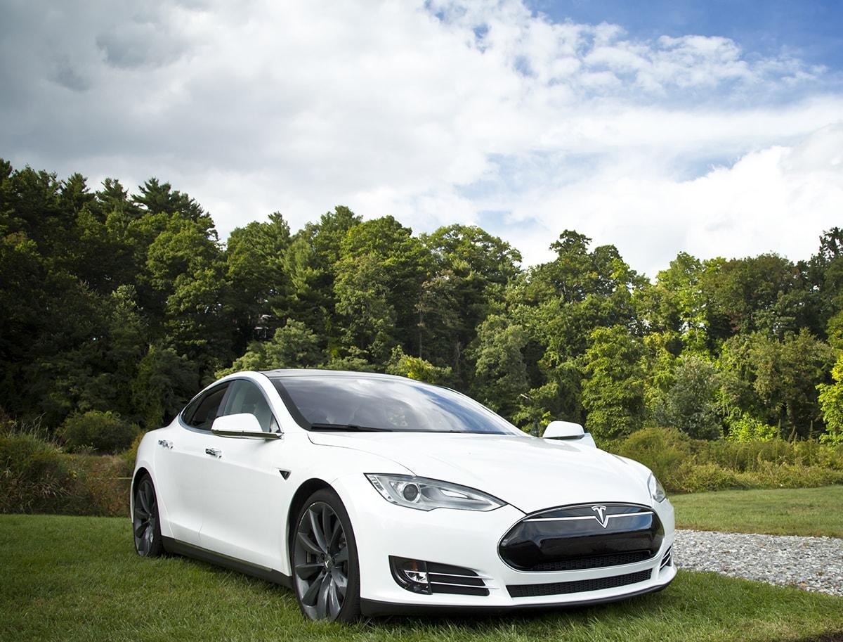 White Tesla Model S parked outside