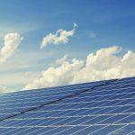 Outdoor solar farm under sunlight