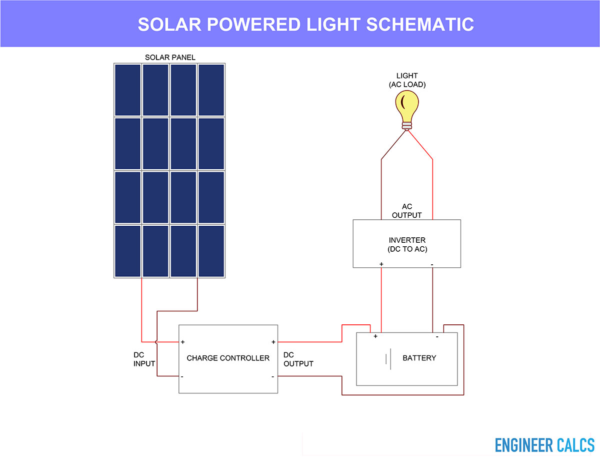 Solar powered light operation schematic