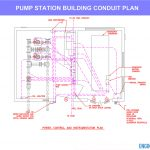 Water pump station conduit plan layout drawing