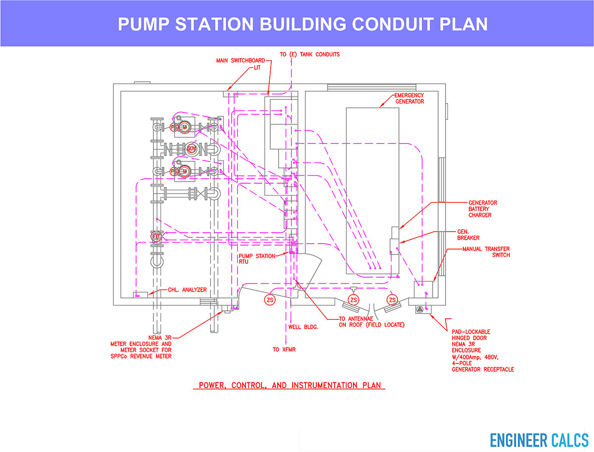 Water pump station conduit plan layout drawing