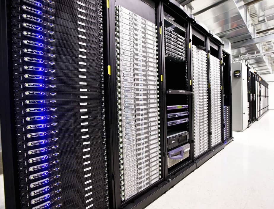 Inside datacenter with countless servers