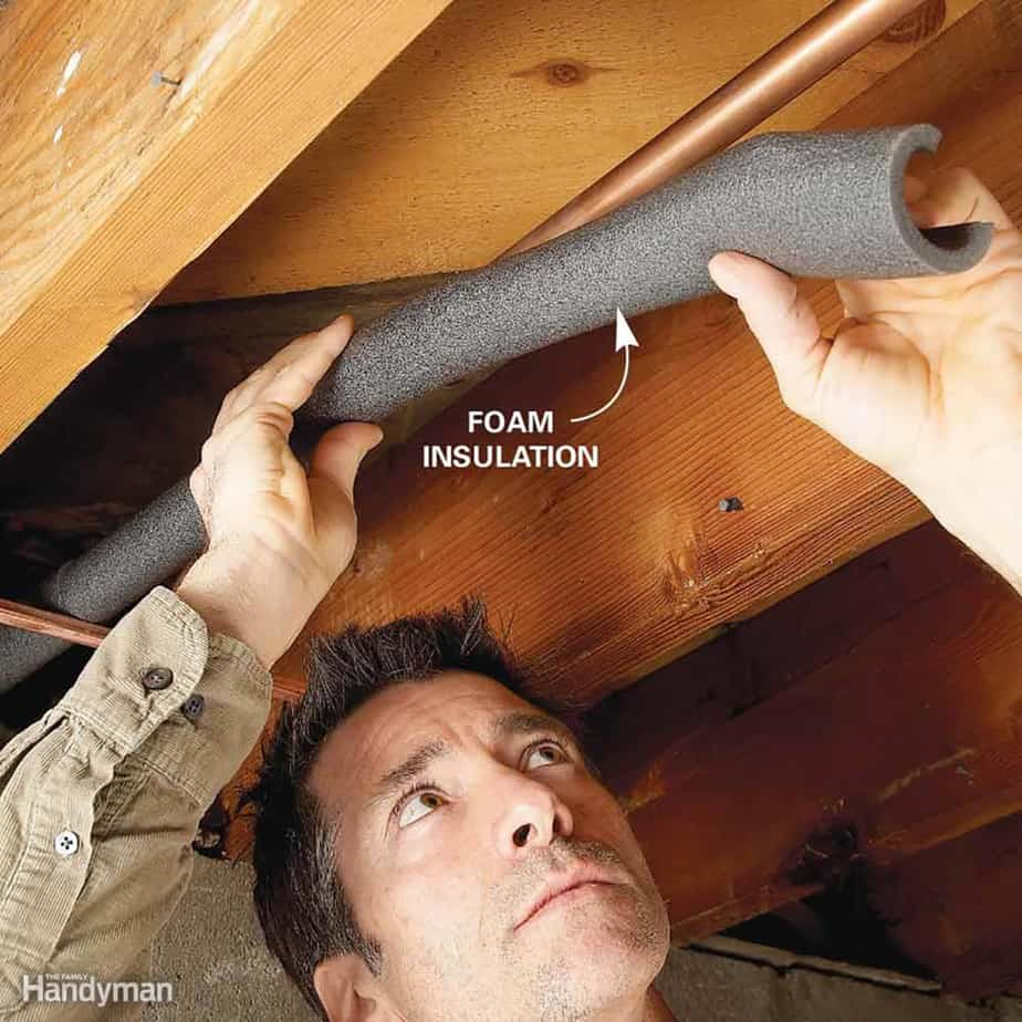 Insulating pipe with foam