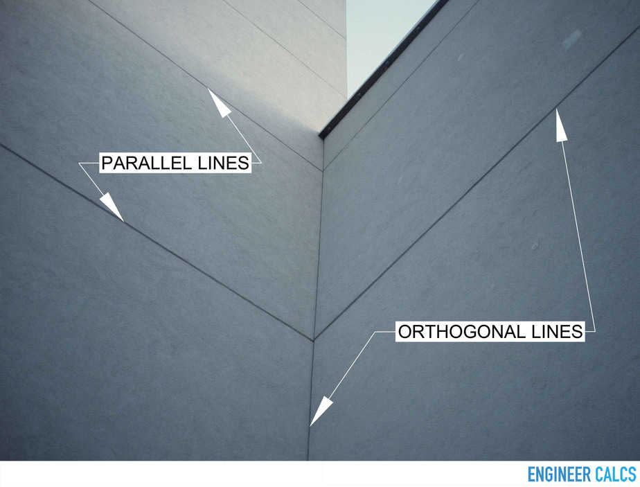 Parallel and orthogonal lines on exterior wall
