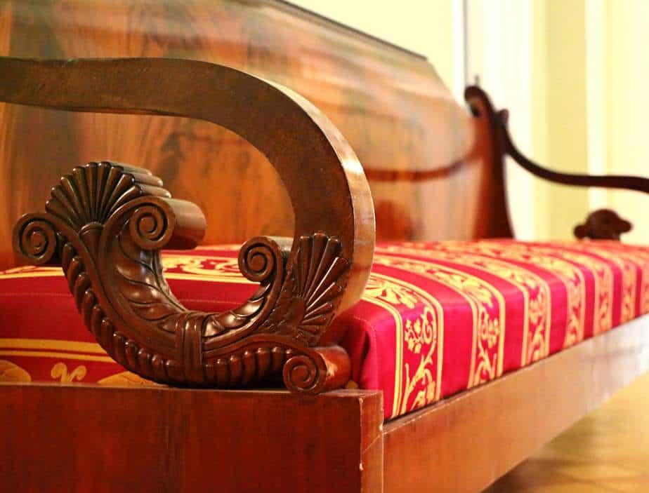 Polished vintage wooden sofa