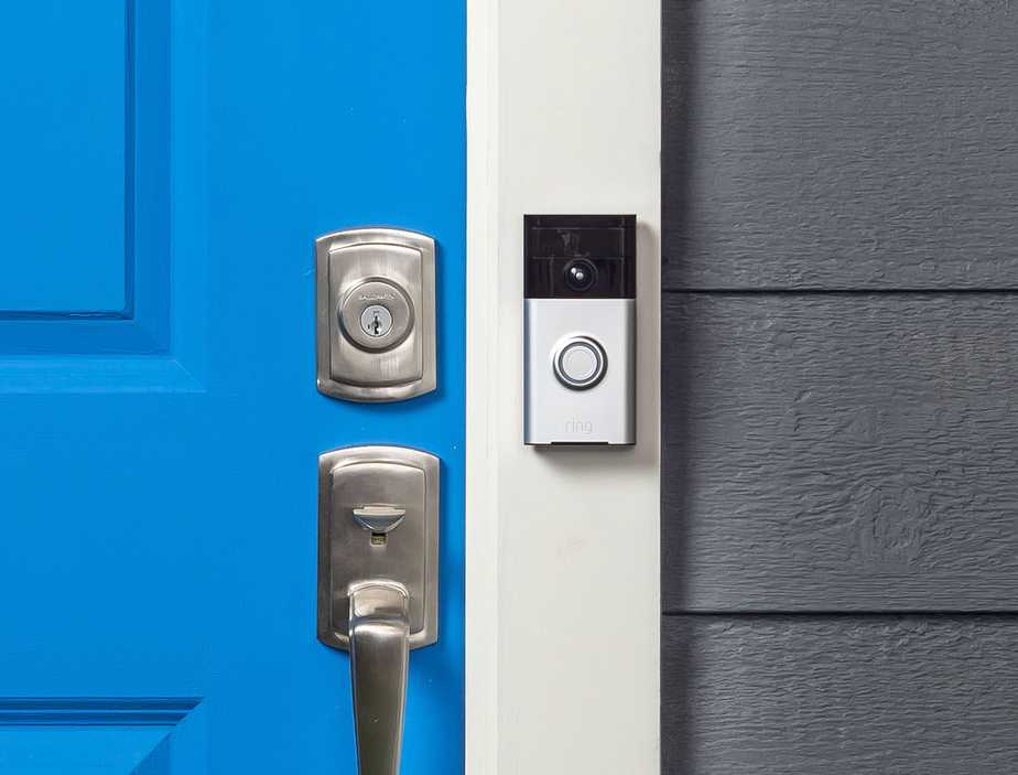Smart door bell on home entrance