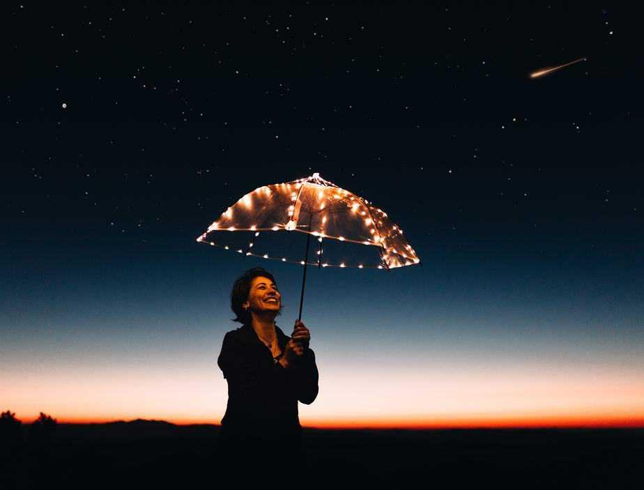 Umbrella LED standing at night