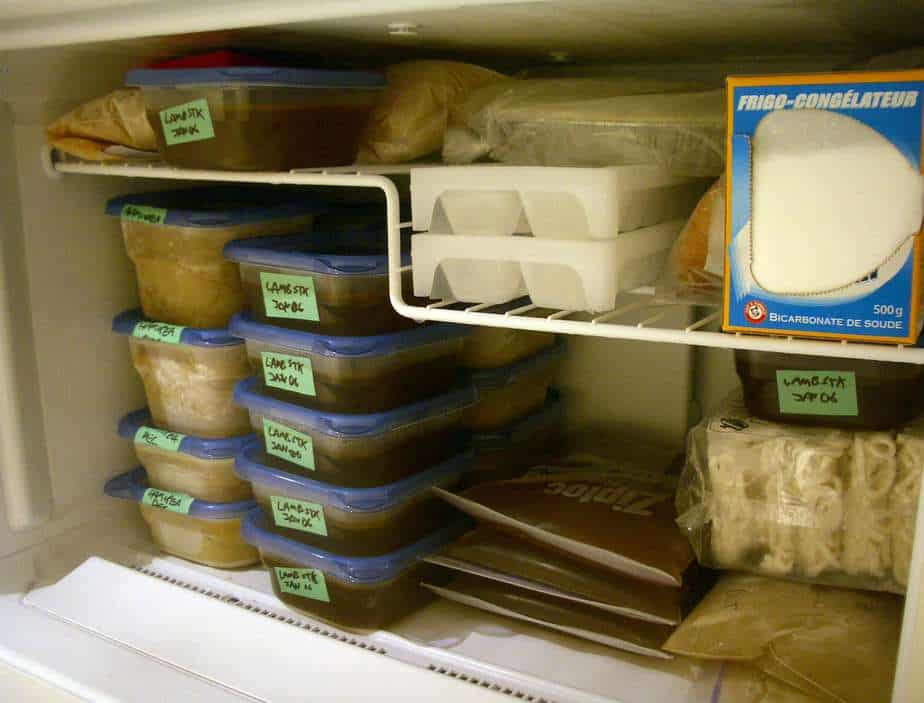 Fully packed freezer with food