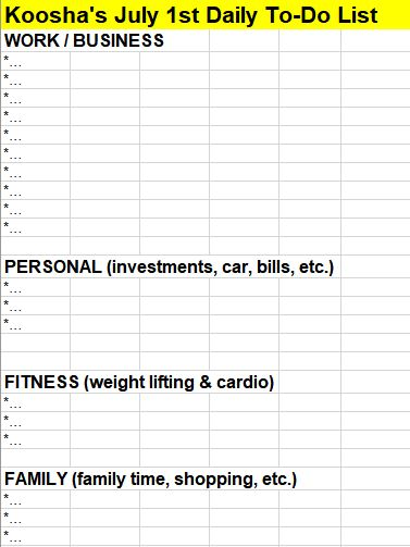 Daily to do list template - most profitable skills to learn