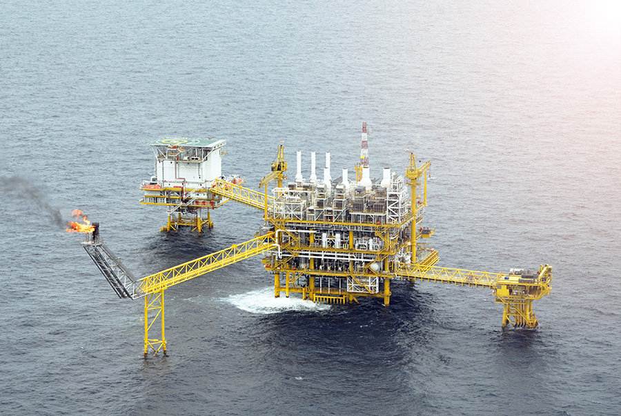 petroleum engineering oil rig in ocean