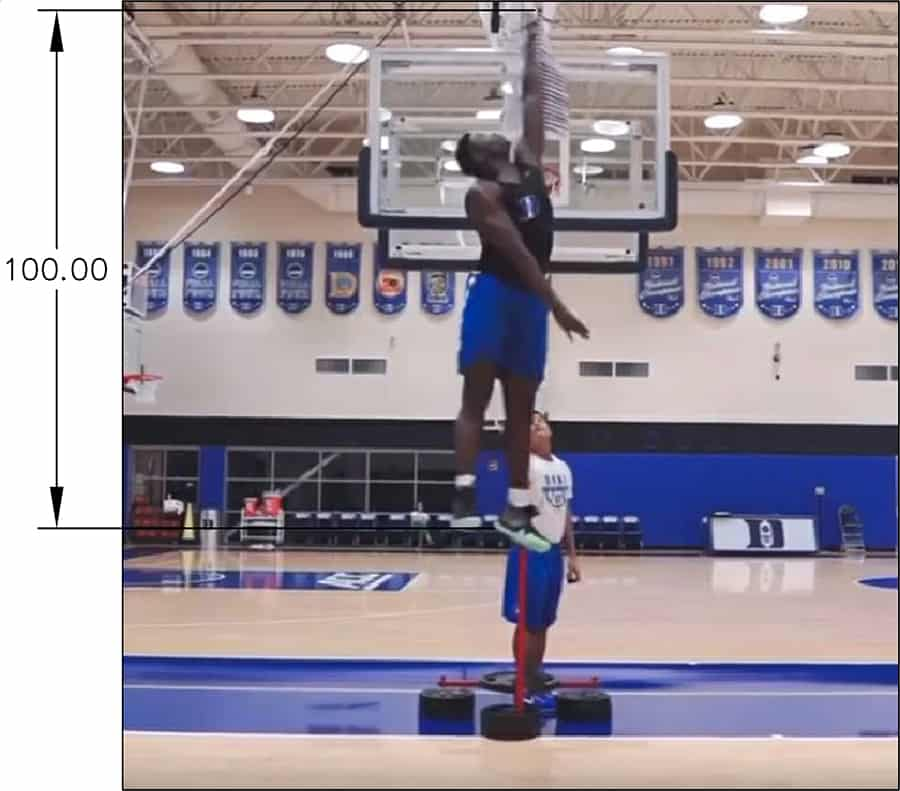 Zion Williamson measuring max vertical at top of jump