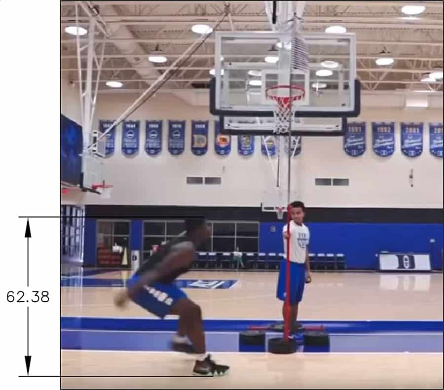 Zion Williamson measuring max vertical ready to jump