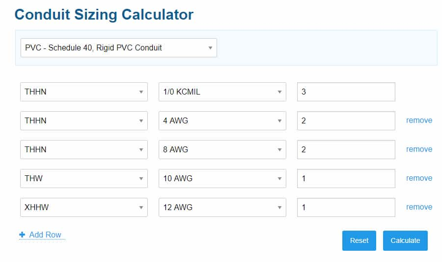 how to calculate conduit size for cables - step 4