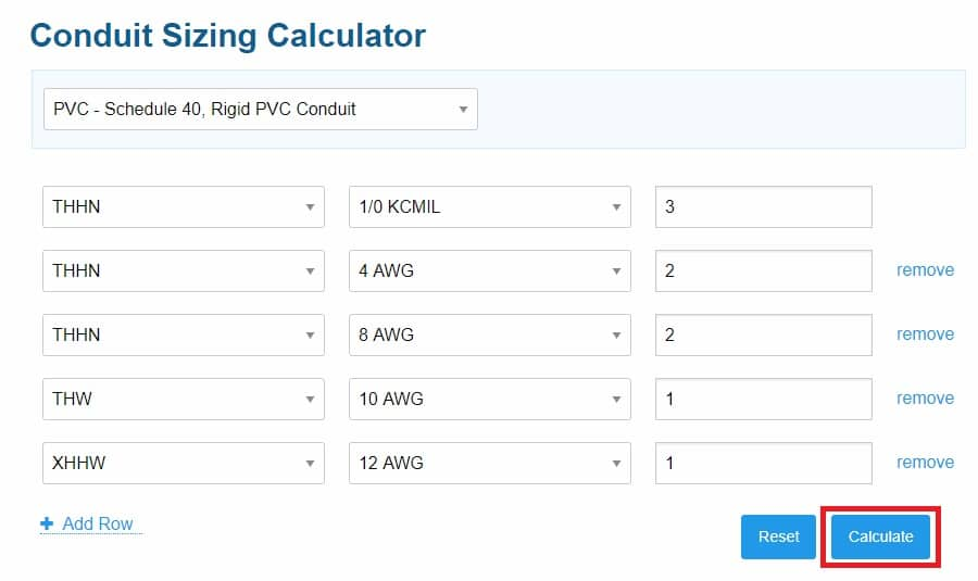 how to calculate conduit size for cables - step 5