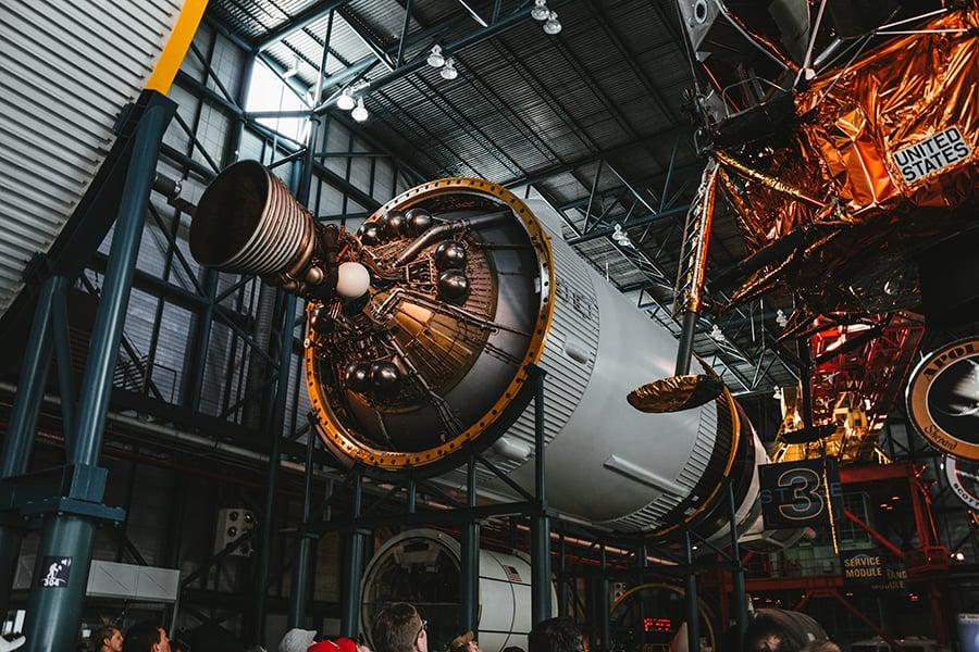 complex designed rocket in factory
