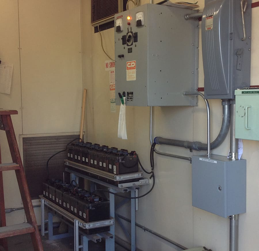 batteries in substation control room connected to dc panel