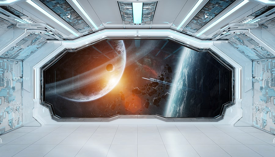 inside of a spacecraft in space