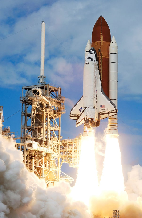 the space shuttle discovery and its seven member STS-120 crew