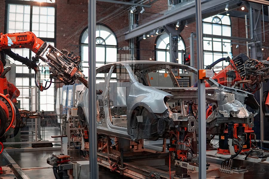 car factory with machines