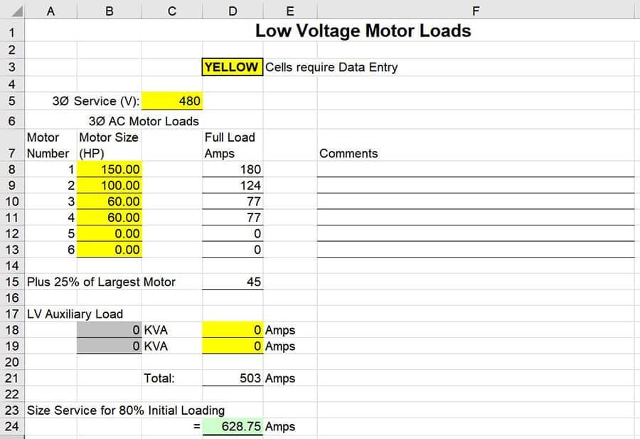 excel low voltage motor loads calculation
