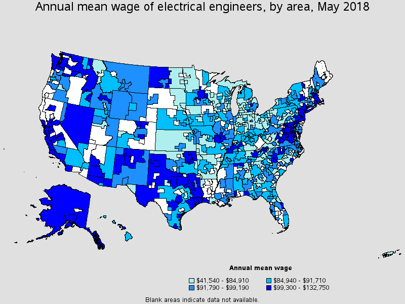 annual mean wage of electrical engineers by area in 2018