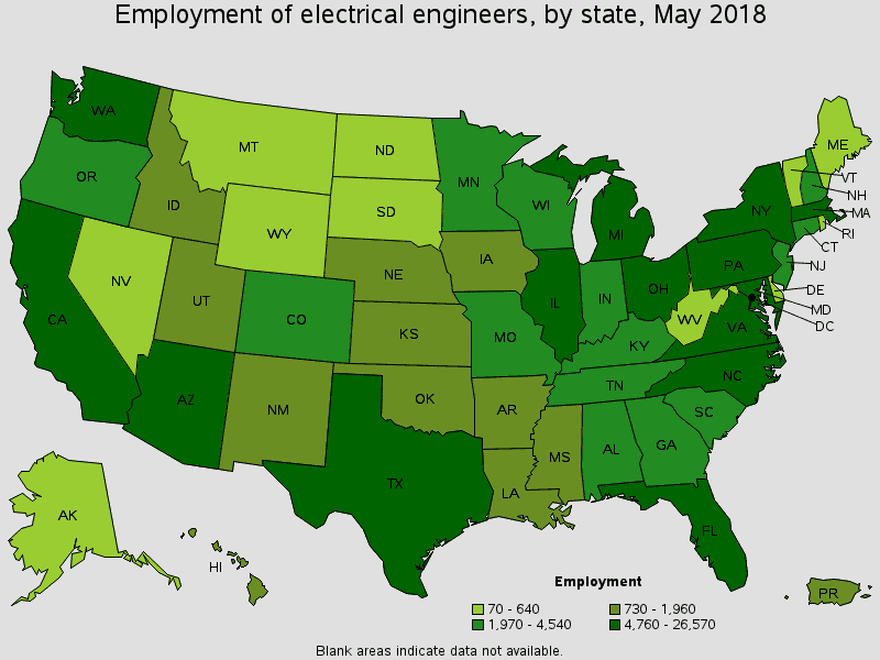 employment of electrical engineers by state in 2018
