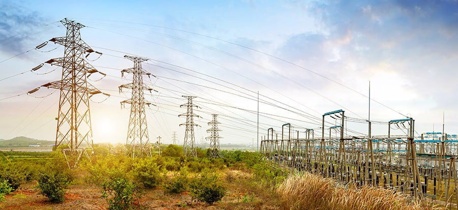 high voltage power substation with transmission lines