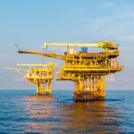 oil gas platform in gulf sea