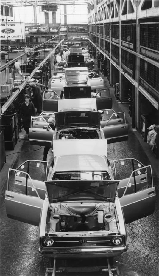 ford escorts coming down the assembly line in 1970s