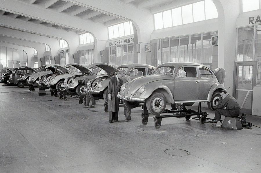 vw beetle factory 1957