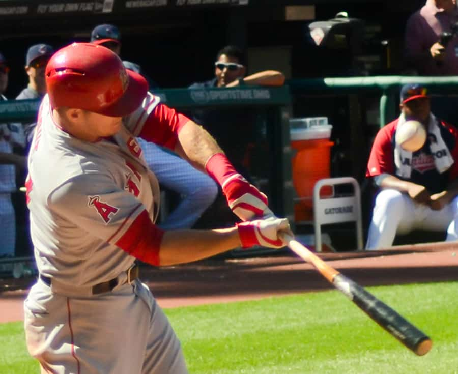 mike trout hitting ball