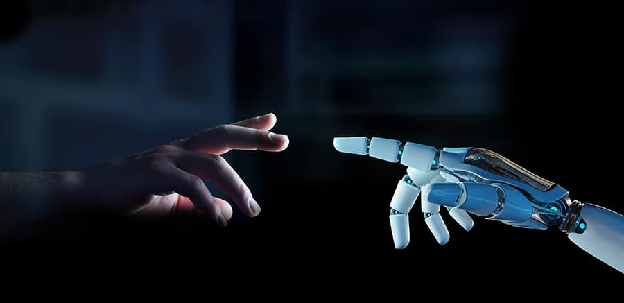 white cyborg finger about touch human finger
