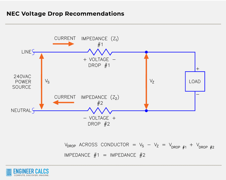 single phase two wire voltage drop schematic