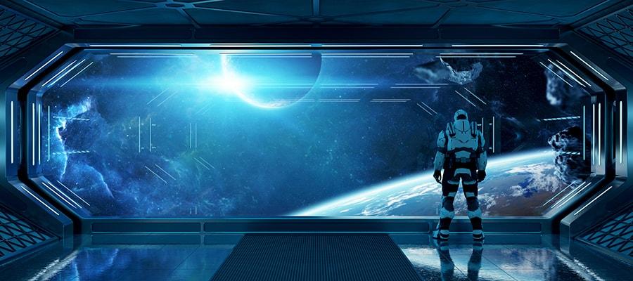 astronaut in futuristic spaceship