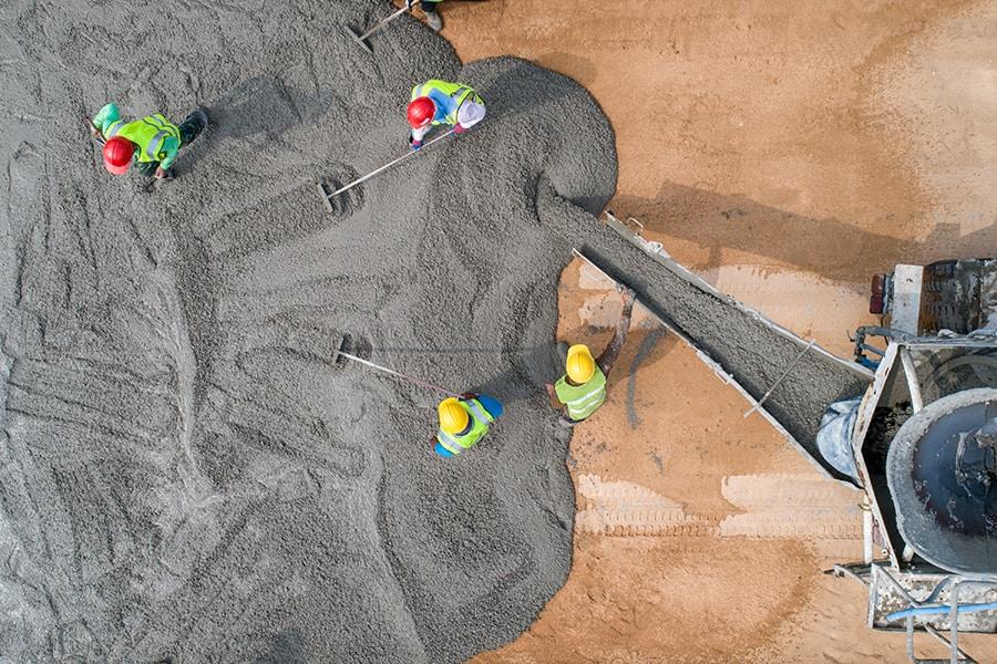 pouring wet concrete