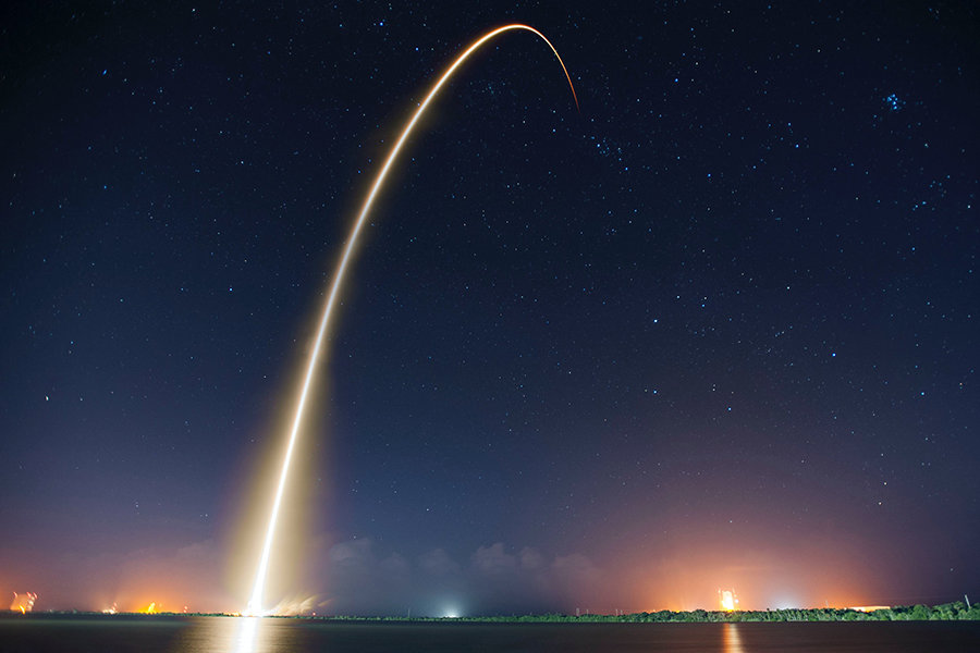spacex rocket streaks into space