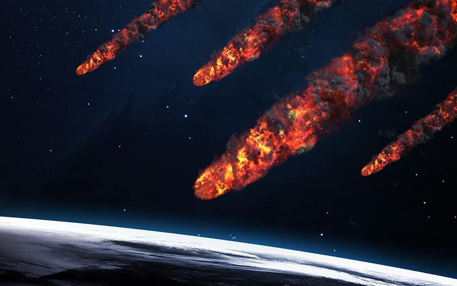 meteor shower striking earth