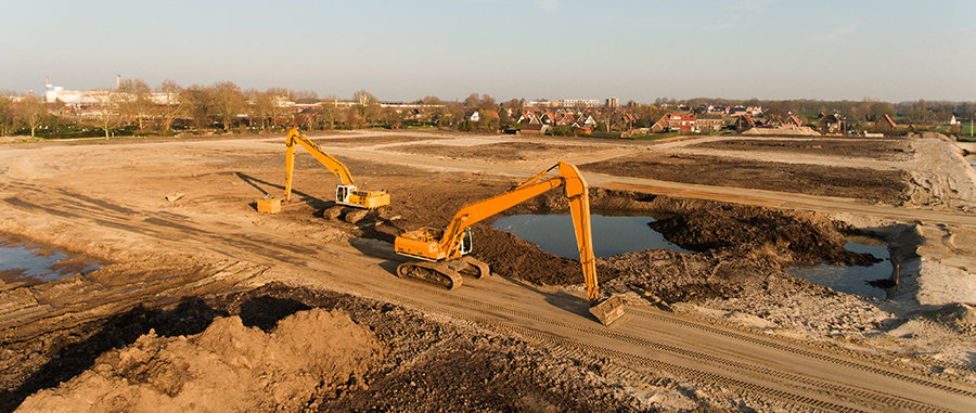 excavators building site